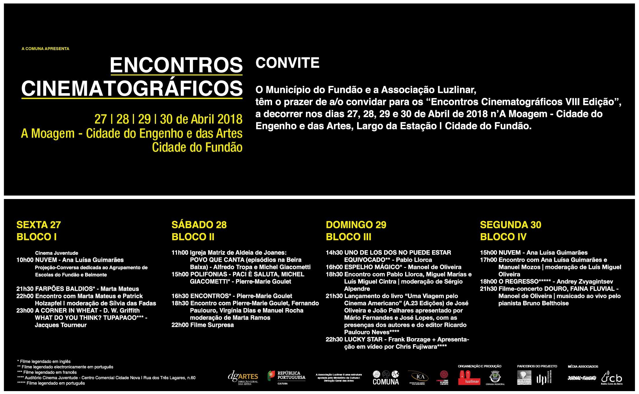 Convite Encontros Cinematográficos VIII Edição